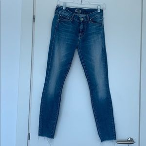 MOTHER blue jeans Size 29 Looker Ankle Fray